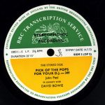 David Bowie 1971-06-05 In Concert - Paris Theatre ,BBC transcription disc ,Broadcast 20-06-1971 - SQ 9