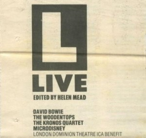 David Bowie 1988-07-01 London ,Dominion Theatre Ica Benefit - Intruders at the Palace - SQ 8,5
