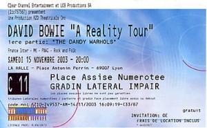 David Bowie 2003-11-15 A Vos Souhaits Flo