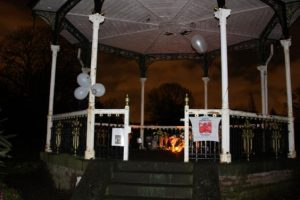 Shrine: The bandstand was a memorial for fans following the shock death of David Bowie in January (Bromley Council)