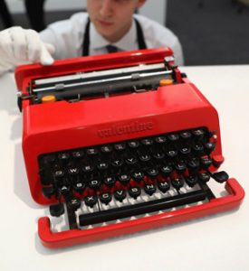 "A design classic, Bowie's lipstick red ""Valentine"" typewriter by Ettore Sottsass, est. at £300-500, just sold for £47,500"