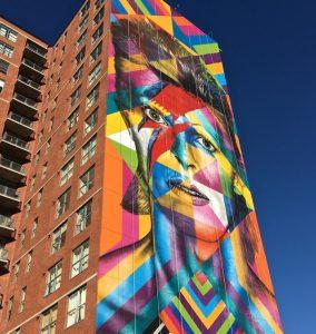 Kobra David Bowie mural art jersey city Internationally Acclaimed Brazilian Artist Eduardo Kobra Paints Massive David Bowie Tribute Mural in Jersey City