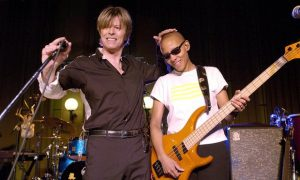 David Bowie and Gail Ann Dorsey at the Radio 2 studios in London in 2002