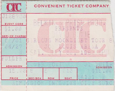 david bowie 1983-07-30 ticket