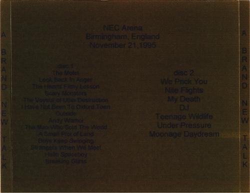 david-bowie 1995 11 21 Birmingham A Brand New Talk tray)