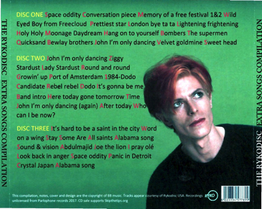 David Bowie - Ryko Bonus Disc - Back