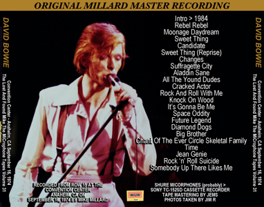 David Bowie 1974 Anaheim BACK