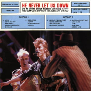 David Bowie 1987-11-23 Melbourne ,Kooyong Stadium - He Never Let Us Down - (vinyl) - SQ 7,5.